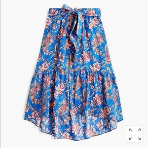 Tall 2 Belted pull-on midi skirt in Liberty Flora